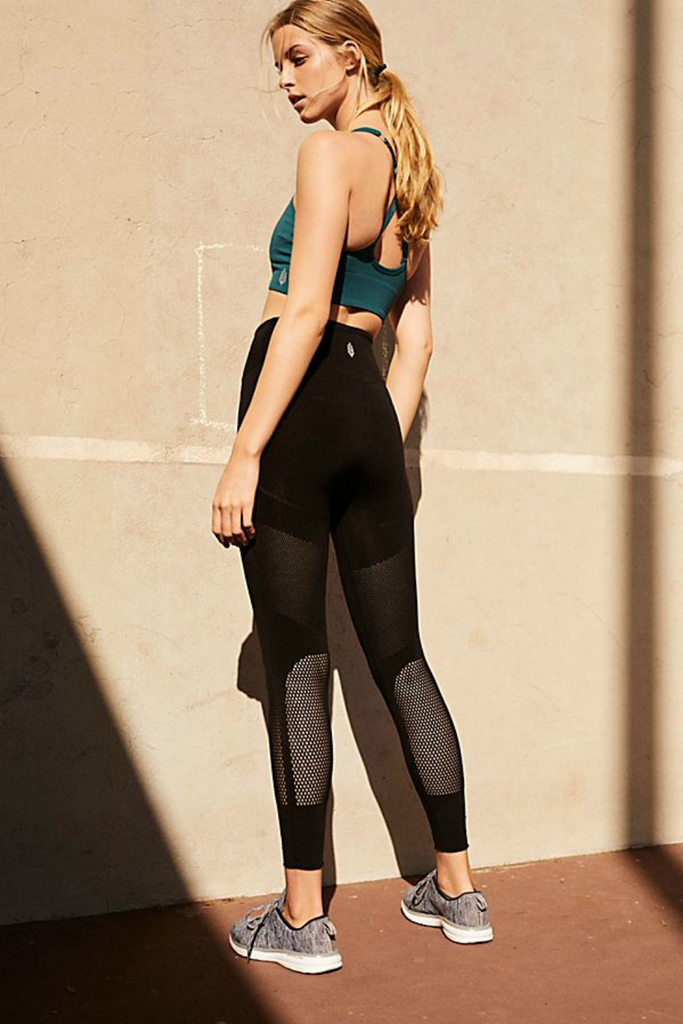 Free People - Hi Waisted Sculpt Mesh Legging - Black - Back