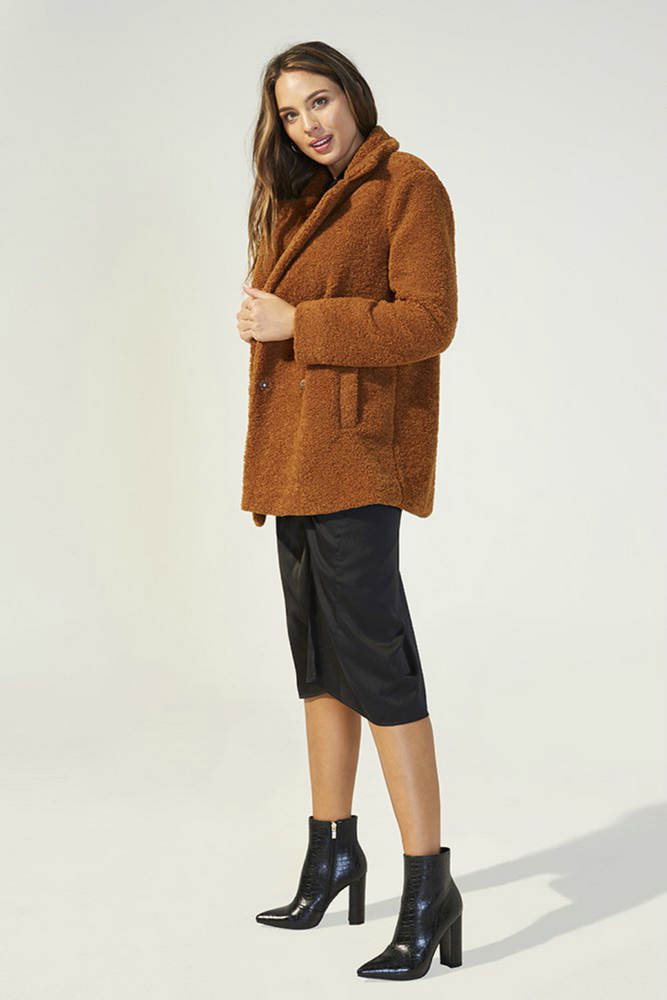 MinkPink - Game of Chance Shearling Coat - Toffee - Back