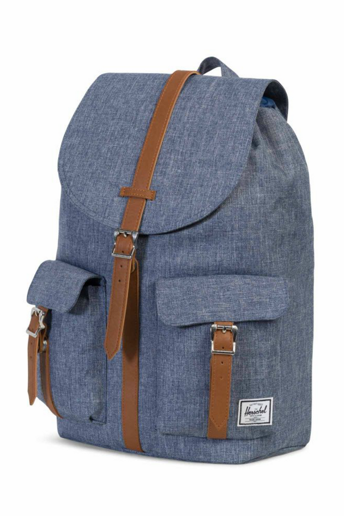 Herschel - Dawson Backpack - Dark Chambray Crosshatch/Tan - Profile