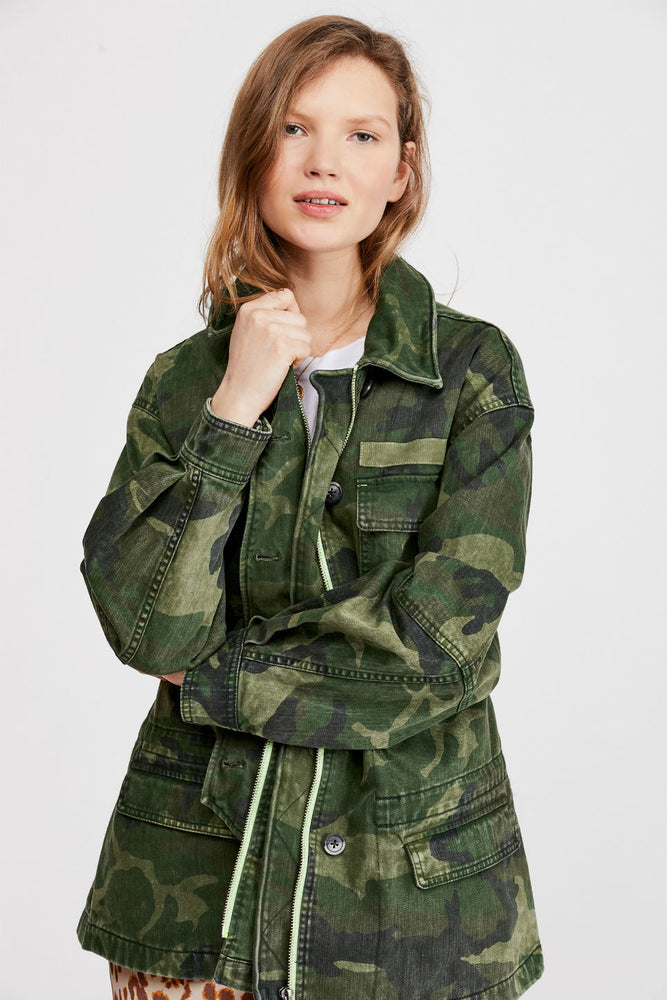 Free People - Seize the Day Jacket - Green Combo - Front