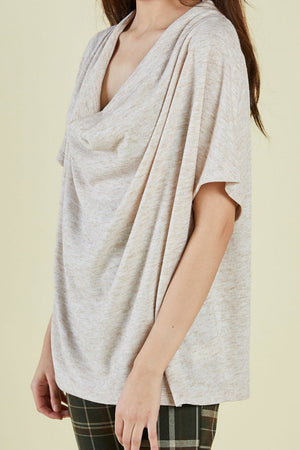 Sage the Label - Verona SS Top - Oatmeal - Side