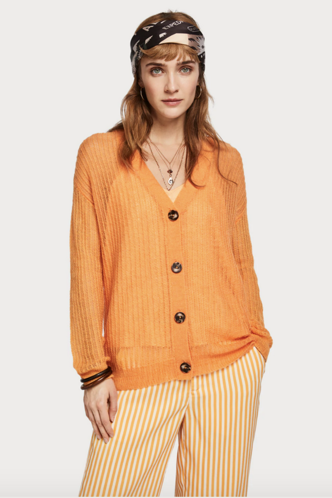 Scotch and Soda - Lightweight Cardigan - Palm Green - Back