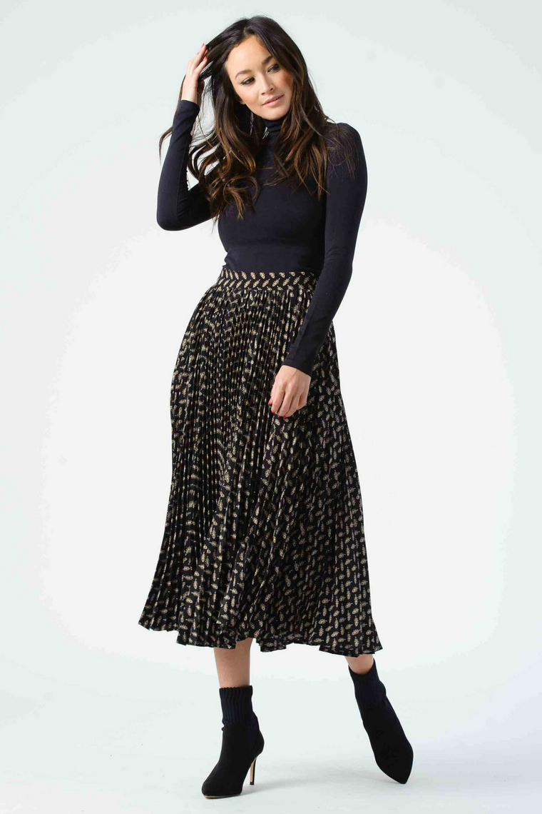 JANIS PLEATED MIDI SKIRT
