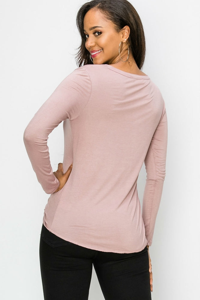 Double Zero - V Neck Essential LS - Dusty Pink - Back