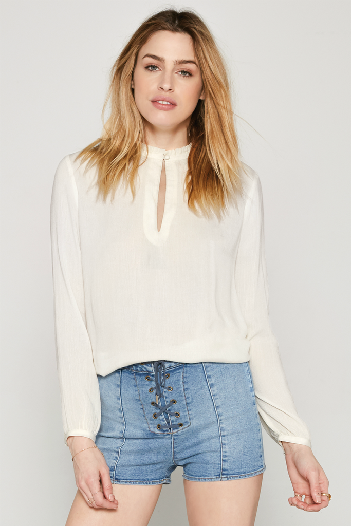 Amuse Society - Paislee Woven Top - Stone - Front