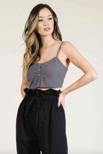 Lucca - Vincenza Sweetheart Button Front Crop Top - Charcoal - Front