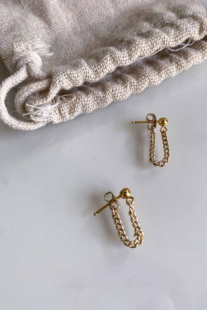 Able - Curb Chain Earring - Gold