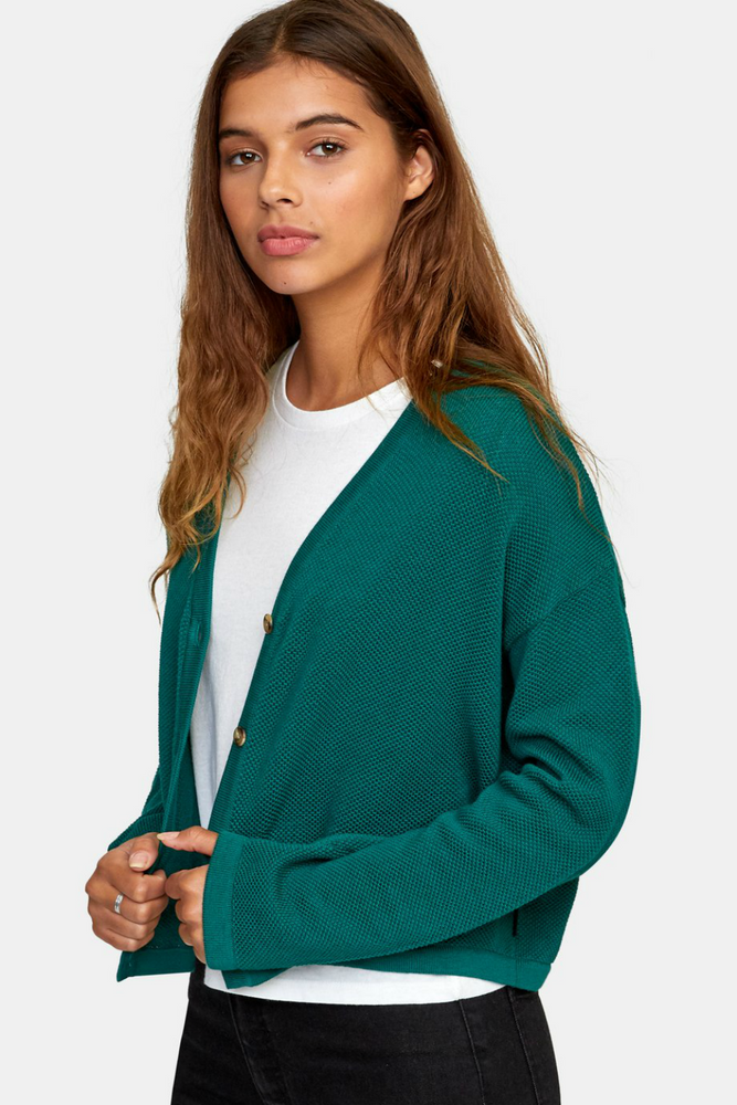RVCA - Authority Cardigan - Evergreen - Side