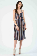 Lucca - Marley Cami Midi Dress w/ Pleated Skirt - Primary Stripe - Front
