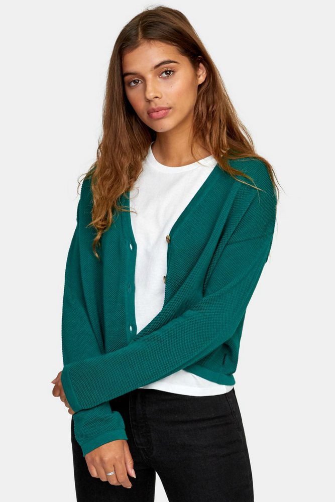 RVCA - Authority Cardigan - Evergreen - Front