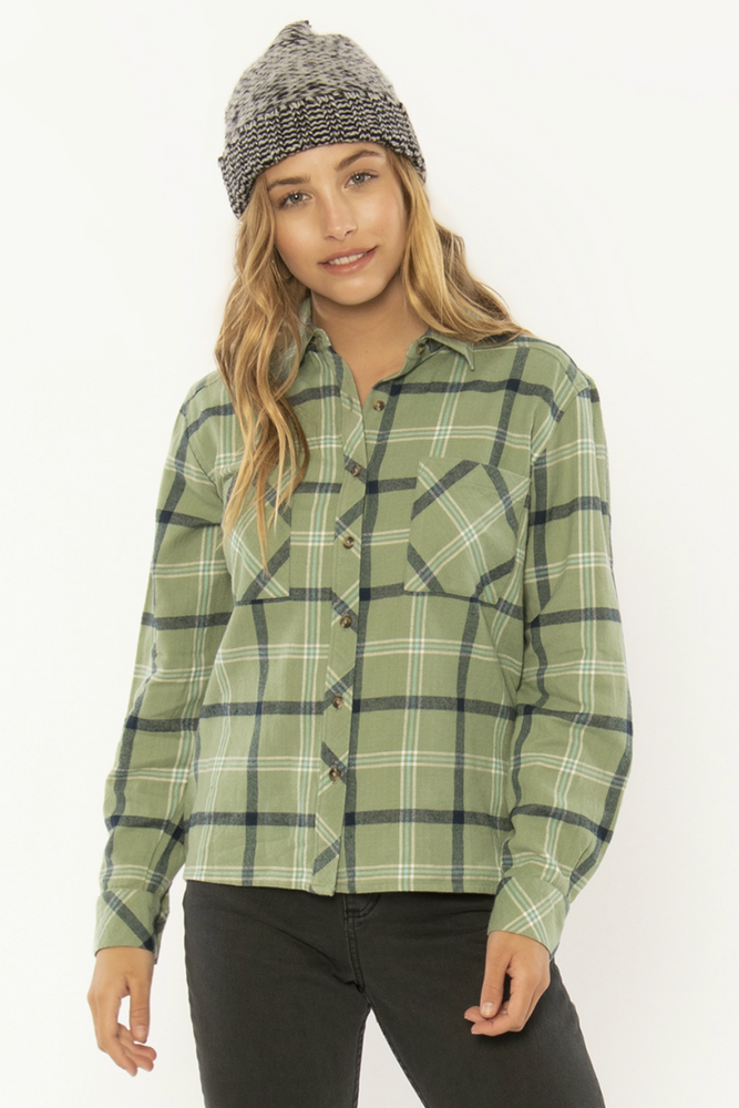 Sisstrevolution - Forrest Days Woven Top - Dusty Green - Front