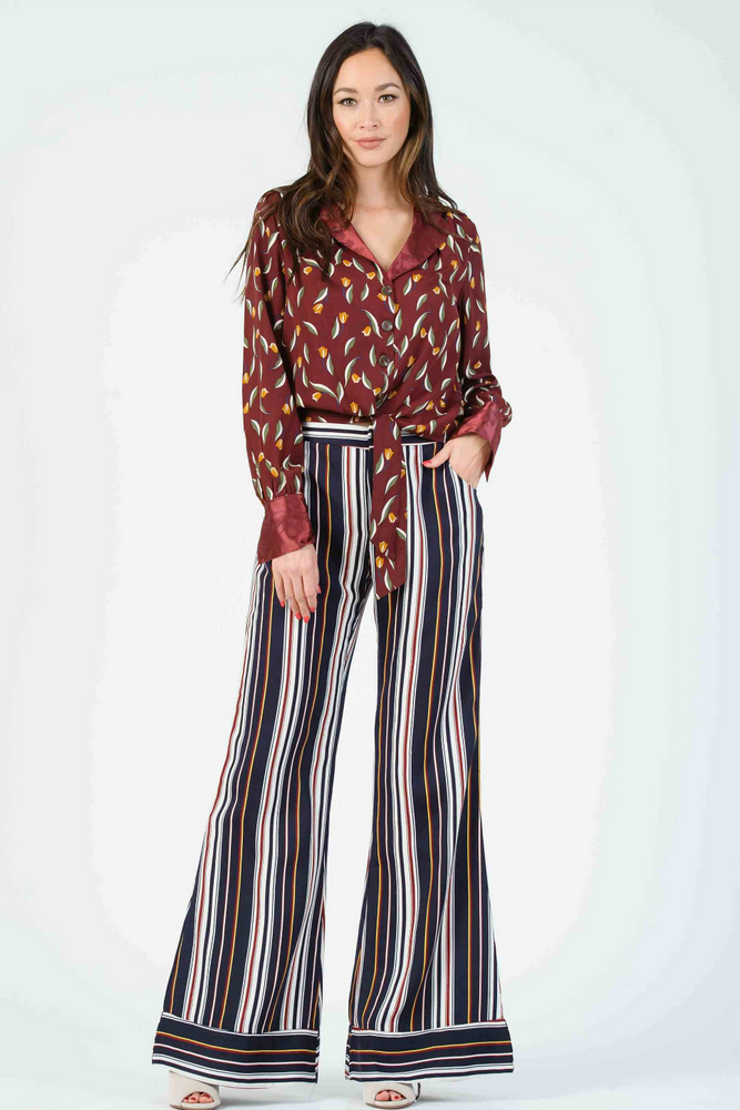 Lucca - Isla Contrast Cuff Wide Leg Pants - Primary Stripe - Front