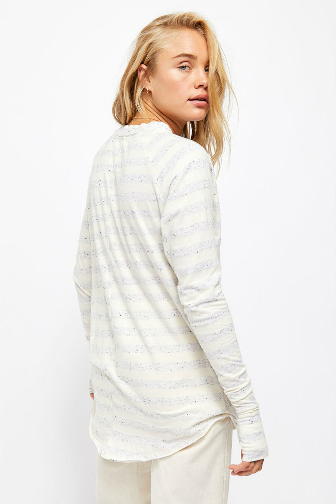 Free People - Arden Stripe Tee - Ivory Combo - Back