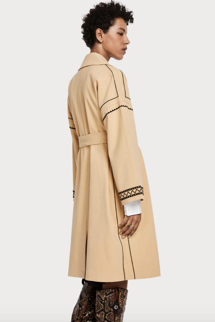 Scotch and Soda - Embroidered Trench Coat - Sand - Back