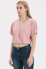 Double Zero - Jen Surplice Top - Desert Rose - Front