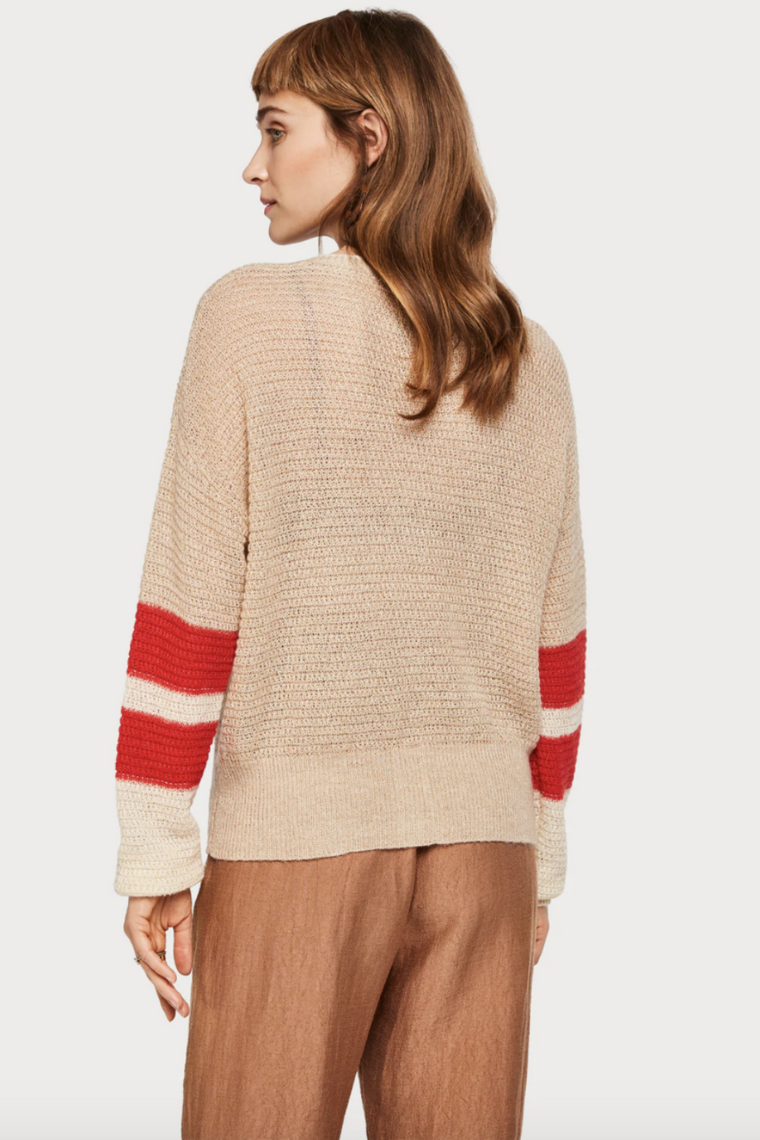 Scotch and Soda - Color Blocked Sleeve Cardi - Sand Melange