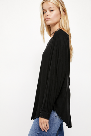 Free People - Shimmy Shake Top - Black - Side