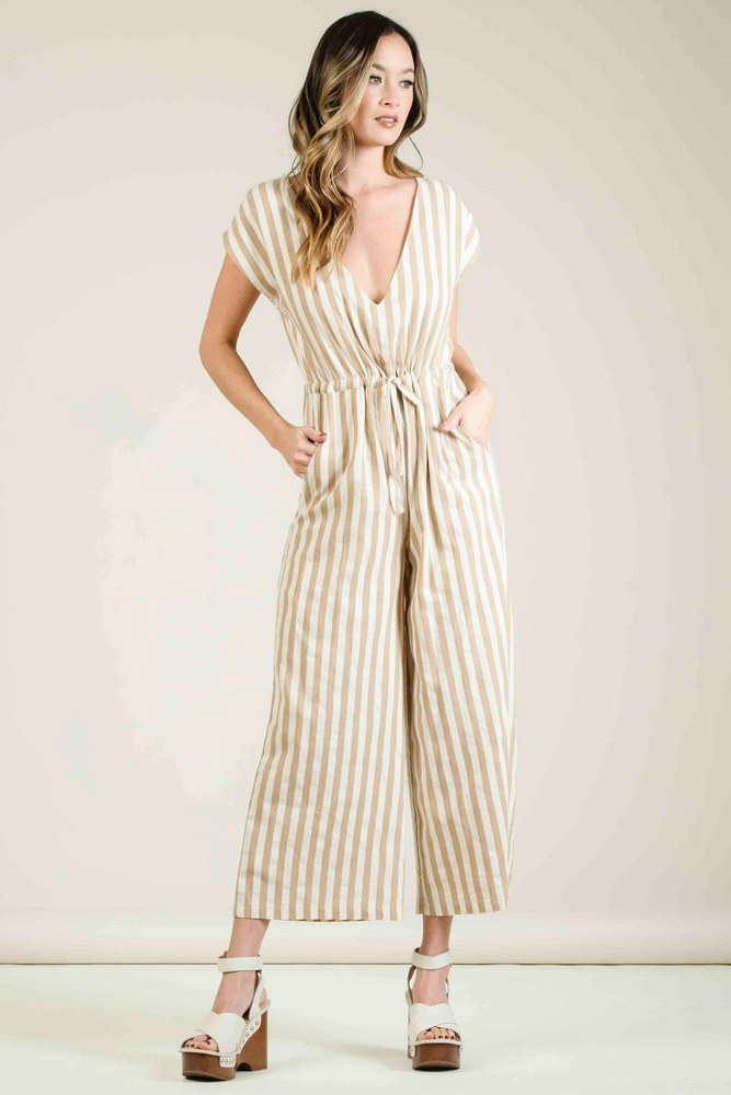 Lucca - Carmela Dolman Sleeve Culotte Jumpsuit - Tan Rugby Stripe - Front