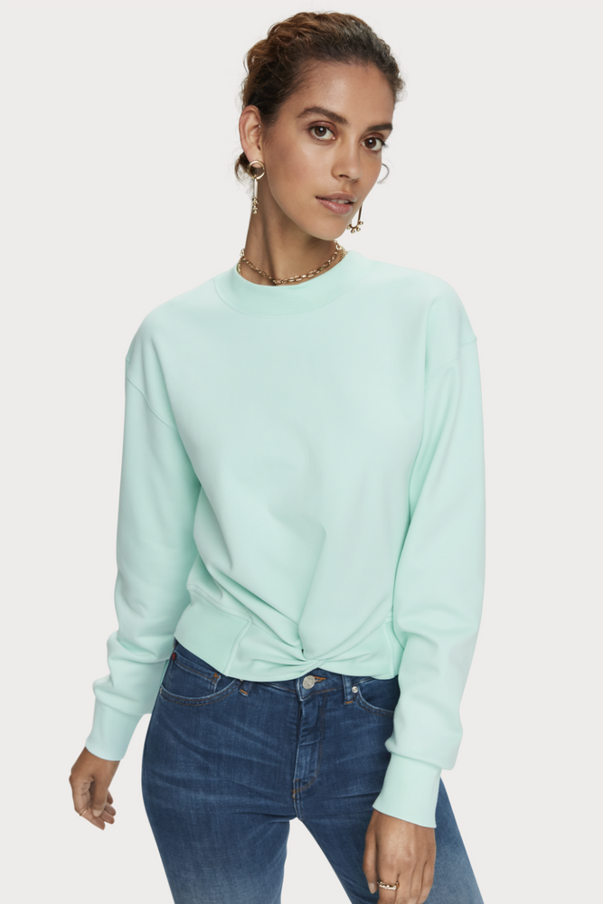 Scotch & Soda - Cropped Crewneck Sweater - Light Turquoise - Front