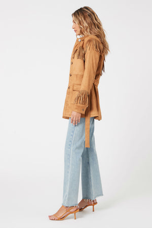 MinkPink - We Are Free Fringe Jacket - Tan - Side