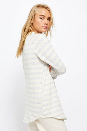 Free People - Arden Stripe Tee - Ivory Combo - Side