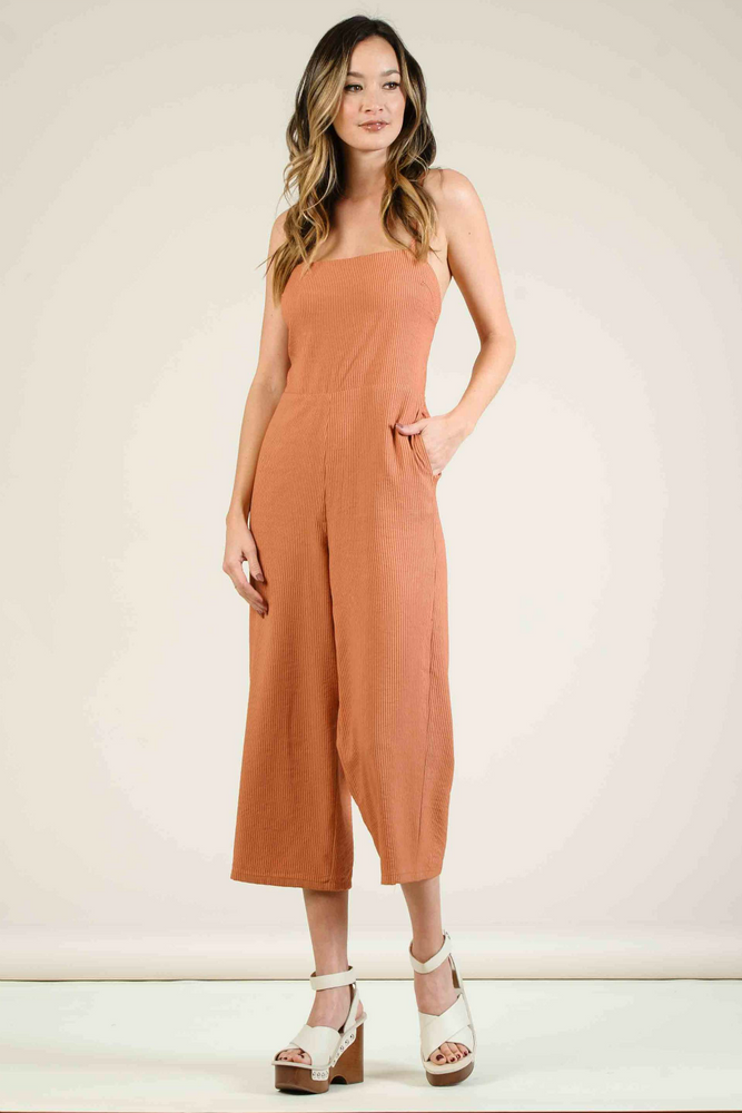 Lucca - Catinia Cross Back Tie Culotte Jumpsuit - Amber Stripe - Back