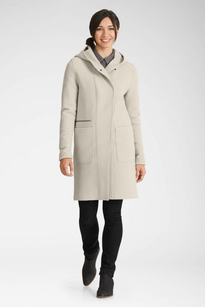 Nau - Boiled Wool Trench - Caviar - Front