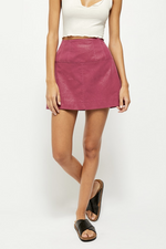 Free People - Days In The Sun Suede Skirt - Misty Plum - Back