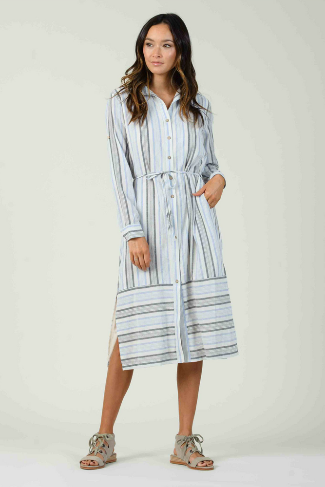 Lucca - Viola L/S Button Down Shirt Dress - Blue Multi Stripe - Front