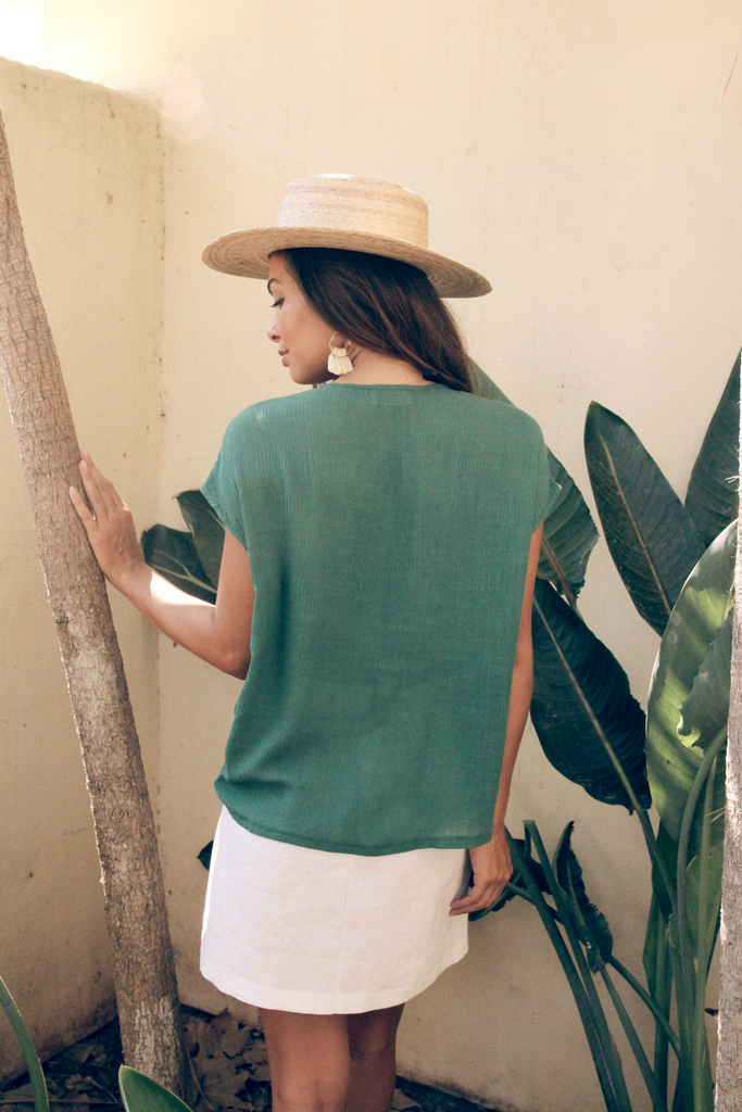 Sage the Label - Summer in Paradise Blouse - Teal - Back