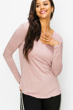Double Zero - V Neck Essential LS - Dusty Pink - Front