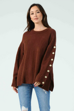 BELINDA BUTTON SLEEVE PULLOVER
