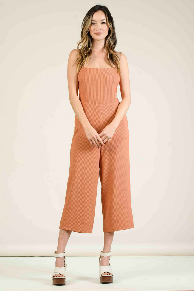 Lucca - Catinia Cross Back Tie Culotte Jumpsuit - Amber Stripe - Front