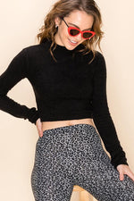 CROP MOCK NECK FITTED SWEATER