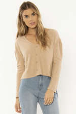 Amuse Society - Mira Cardi LS Knit Top - Amaretto - Front