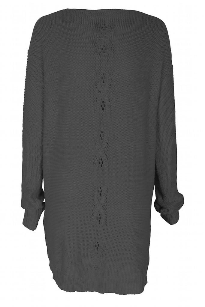 Somedays Lovin - Patti Knit Tunic - Charcoal Marle - Back