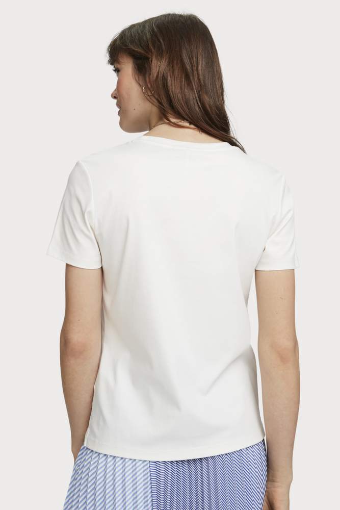 Scotch & Soda - Jersey Scoop Neck Tee - Off White - Back