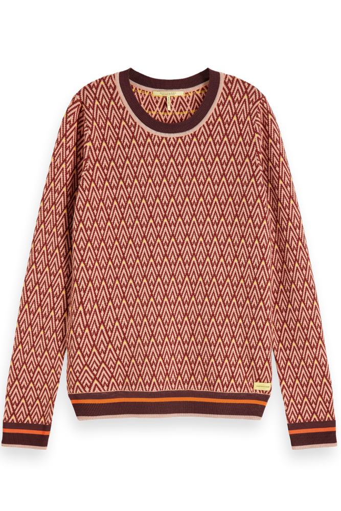 Scotch & Soda - Crewneck Intarsia Knit - Rust