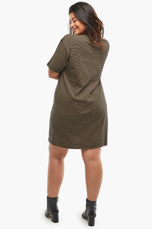 Able - Anamika Relaxed T-Shirt Dress - Black/Tan Stripe - Back