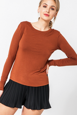 Double Zero - Boat Neck Drop LS - Brown - Front