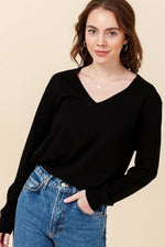 Double Zero - V Neck LS Sweater - Black - Front