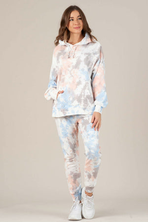 NYTT - London Pocket Hoodie Tie Dye - Pink/Purple/Blue - Front