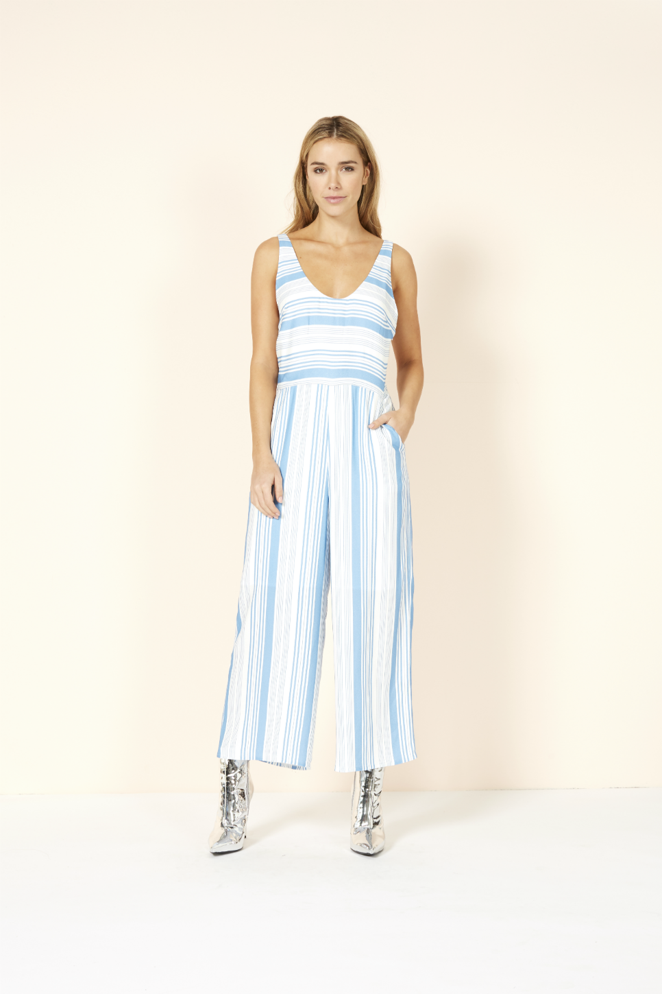 Mink Pink - Stripe Jumpsuit - Washed Blue/Off White - Front
