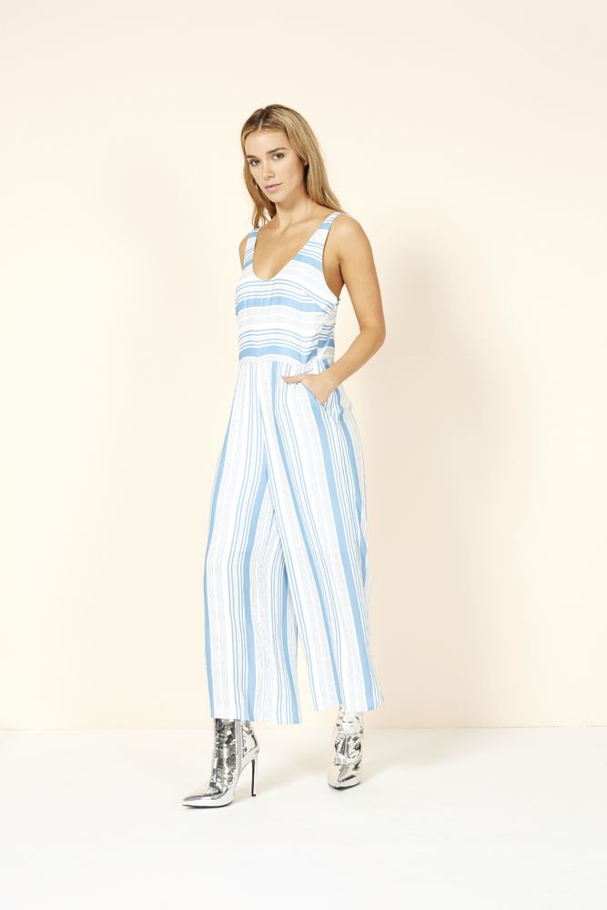 Mink Pink - Stripe Jumpsuit - Washed Blue/Off White - Back