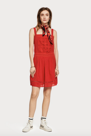 Scotch & Soda - Broderie Anglaise Summer Dress - Poppy Red - Front