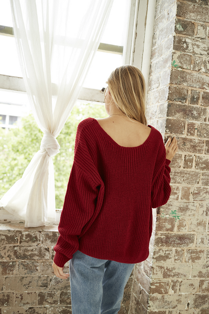 Somedays Lovin - In Bloom Twist Back Jumper - Wine - Twist Back