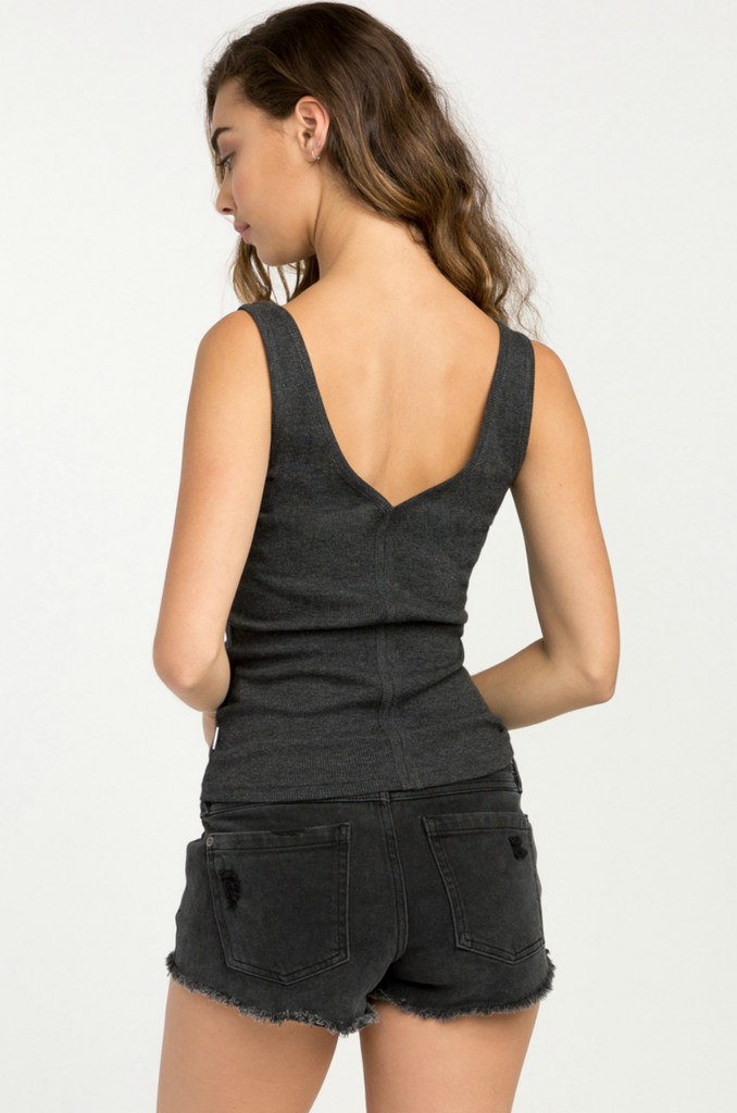 RVCA - Barb Ribbed Tank - Charcoal Heather - Back