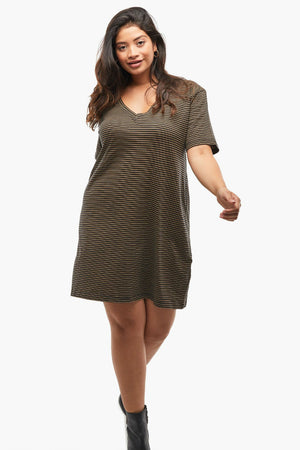 Able - Anamika Relaxed T-Shirt Dress - Black/Tan Stripe - Front