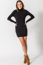 Double Zero - High Neck LS Bodycon Mini Dress - Black