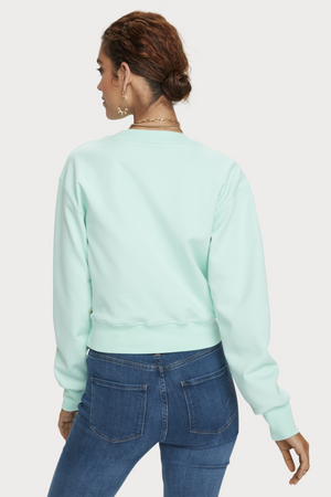 Scotch & Soda - Cropped Crewneck Sweater - Light Turquoise - Back